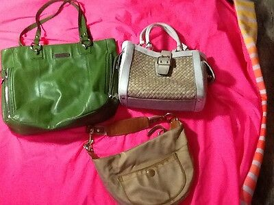 coach lot of 3 lime large leather/med wicker/small tan sateen bags
