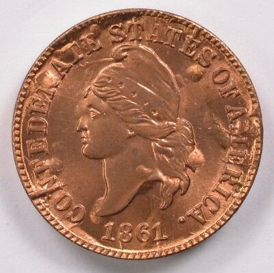 1c 1861 Confederate Cent Bashlow Restrike BU Red