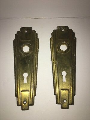 Vintage Pair 2 Brass Art Deco Door Knob Back Plates Salvage Skeleton Key