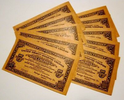 10  #5 Package Confectionery United Profit Sharing Coupons Crisp & RARE 1920's