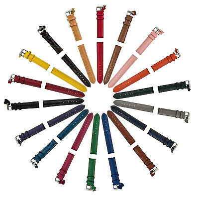Ladies Mens White Stitching Leather Watch Strap 18 Colours 12mm - 24mm