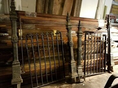 Antique cast & wrought iron gate pair with 4 posts - architectural salvage
