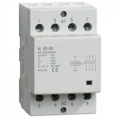 1 CONTACTOR 4 Pole 40 Amp Lighting Coil 110V 120V DIN IEC 40A 63A Modular As Is