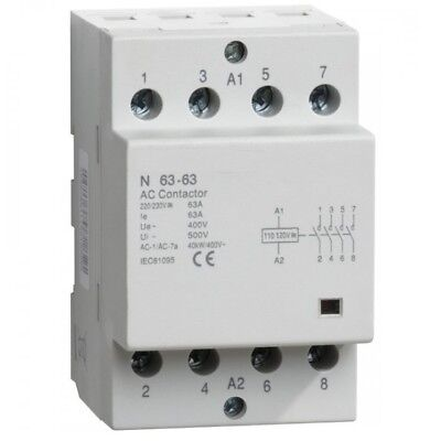 4 Pcs, CONTACTOR 4 Pole 40 Amp Lighting Coil 110V 120V DIN IEC 40A Modular As Is