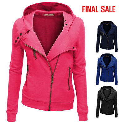[FINAL SALE]Doublju Women Slim Fit Fleece Zip-up Hoodie Jacket