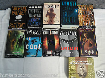 11 Mixed Audio Books Cassettes Never Played LOT Koontz Holmes Clarke Clover
