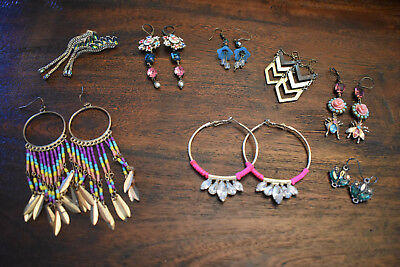 Beautiful Boutique Lot of (8) Earrings Vintage Jeweled~ Super Detailed
