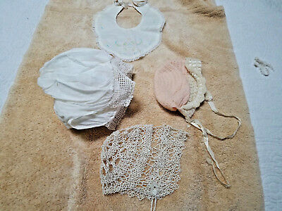 Three Vintage Handmade Baby Doll Bonnets with One Embroidered Bib