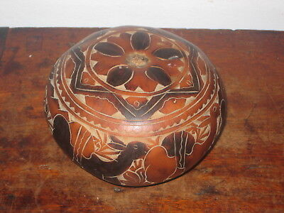 Ornamental Goard Shape Shake Probably South American Carved Decoration