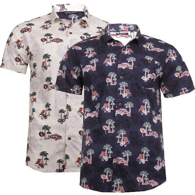 Mens Hawaiian Short Sleeve Cotton Shirt Brave Soul Summer Fun Casual Top Party