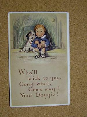 "1900s Valentines Tailwagger Series Postcard ""Who'll Stick to You"" No2439 by Mac."