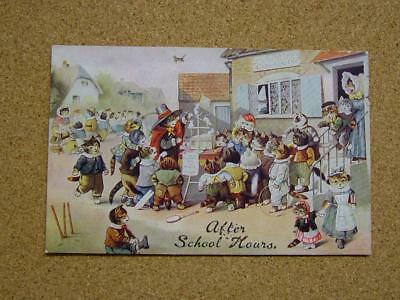 "1900s Louis Wain Cats Academy Series Postcard ""After School Hours""."