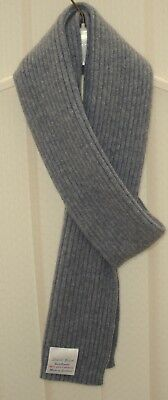 Gents Pure Cashmere Knitted  Scarf-Wide Fine Rib Design 16x170cm - Grey Flannel