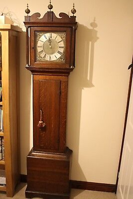 longcase clock 17th century 30hr Thomass Barratt Lewes single hand bird cage