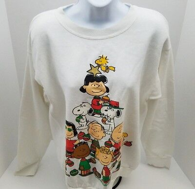 Vintage Peanuts 70's Charlie Brown Christmas Sweater Friends Size Large USA Made