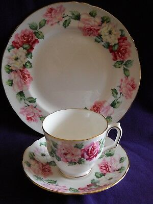 "Vintage Crown Staffordshire Trinity Rose Floral 8-1/4"" Plate, Cup and Saucer"