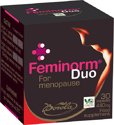 Feminorm Duo Relieve Menopause Symptoms & Complications. Phytoestrogens. 30 tabs