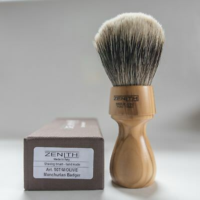 Zenith Manchurian Olive Wood Shave Brush. 27.5 x 51 mm. 2-Band Badger. Italy M11