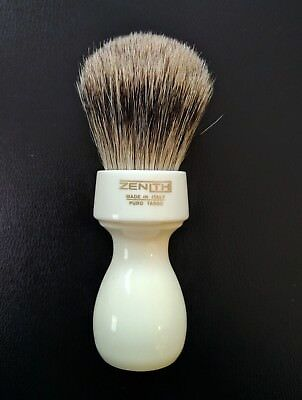 Zenith Tall Handle XL Best Badger White Shave Brush. 27mm. Made in Sicily. T9