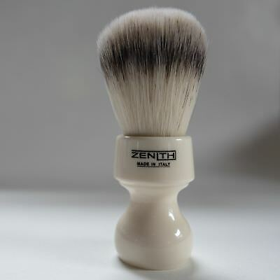 Zenith White Resin Handle XL Synthetic Shave Brush. 27.5mm. Made in Sicily. S2