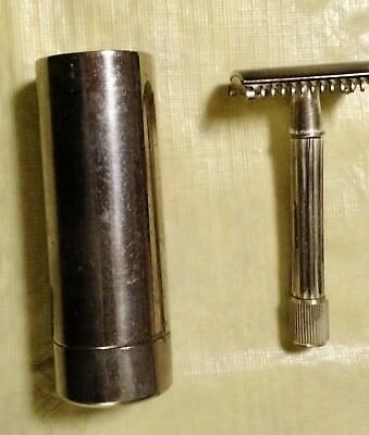 """Fata"" Silver Plate Razor Shave Kit with brush and chrome holder and case. Italy"