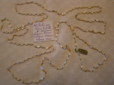 Ancien collier 3 rangs  sautoir 162 perles nacre veritable  France 1960 1,64 m