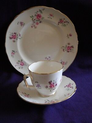 "Vintage Crown Staffordshire English Rosebud Floral 8-1/4"" Plate, Cup and Saucer"