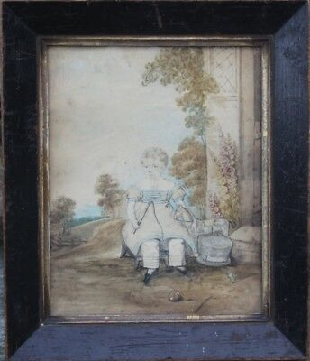 Early 19th CENTURY PRIMATIVE WATER COLOR PORTRAIT signed & dated 1825 FOLKART