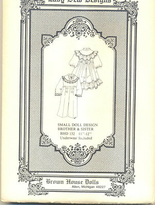 "Sister and Brother Doll Pattern 11""-12"" BHD 132 Vintage New Uncut"