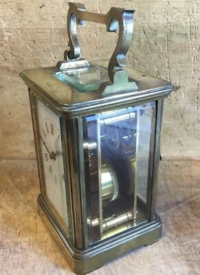 Antique Brass Glass Sides Carriage Clock For Restoration a/f