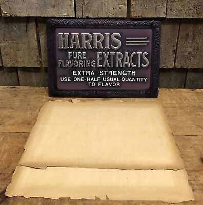 Vintage 30's HARRIS EXTRACTS Food Flavoring Country Store Advertising Sign