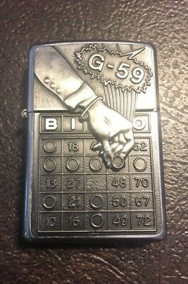 "Used Vintage Zippo ""G-59"" Bingo Surprise Emblem Chrome Lighter Made in the USA"