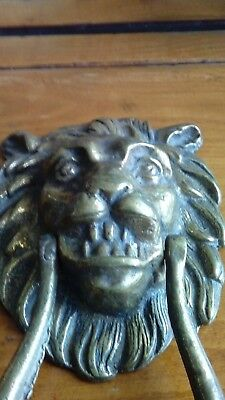 Antique Heavy Brass Lion Door Knocker With Very Good Patina & Superb Detail.