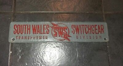 Vintage South Wales Switchgear Transformer Sign Railway/factory