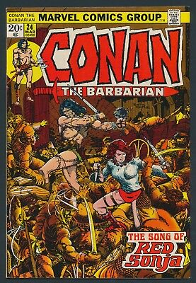 Marvel Comics Conan The Barbarian #24  1973 - 1St Appearance Red Sonja-Key-Nice!