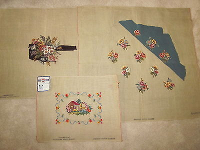 Lot of 3 Vintage Hiawatha Floral / Home needlepoint canvas