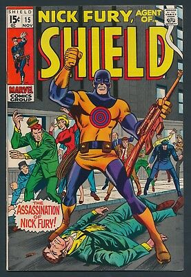 Marvel Comics Nick Fury Agent Of Shield #15 1969 1St App. & Death Of Bull's Eye