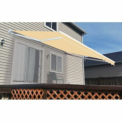 ALEKO Retractable Patio Awning 10 X 8 Ft Deck Sunshade Ivory Color