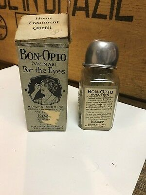 Antique BON-OPTO EYE REMEDY bottle w/ Box and Directions RARE