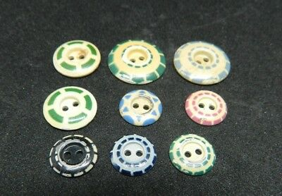 Mixed Patterns of  Antique Aluminum STENCIL Buttons