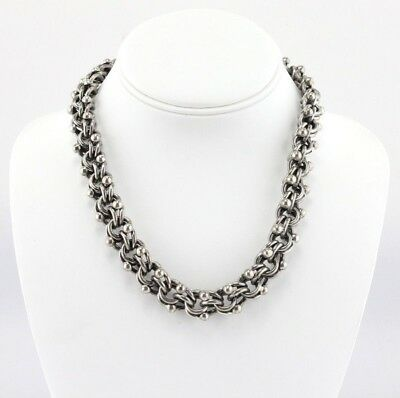 Vintage Mexican 950 Silver Link Chain Toggle Clasp Choker Necklace- Nr #686