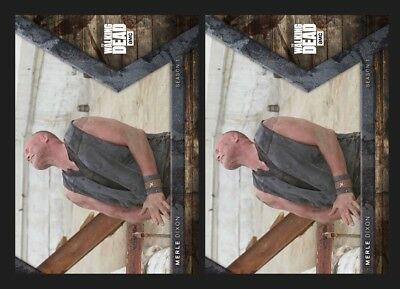 2x MERLE DIXON-HUNTED-INTO THE HUNT-TOPPS WALKING DEAD TRADER