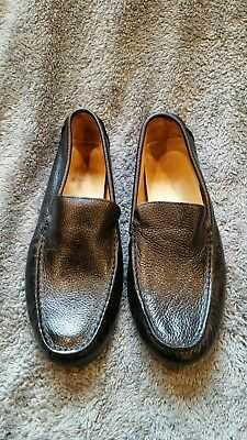 mens Stephan Bossi Hand Made PURE LUXURY black leather slippers size 9.5M
