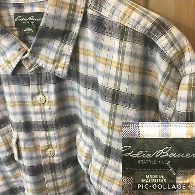 New! Mens Size XL Eddie Bauer Super Soft 100% Cotton Plaid Shirt Very Nice!