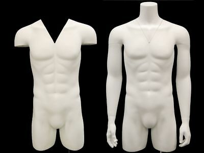 Male Invisible Ghost Mannequin 3/4 Body - Matte White
