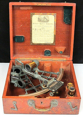 Antique Sextant 1913 Certified In Original Case With Telescope And Attachments