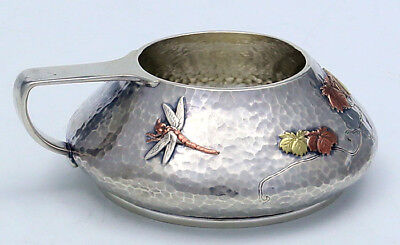 TIFFANY MIXED METALS Bowl Dragonfly Leaves Sterling Copper c1880