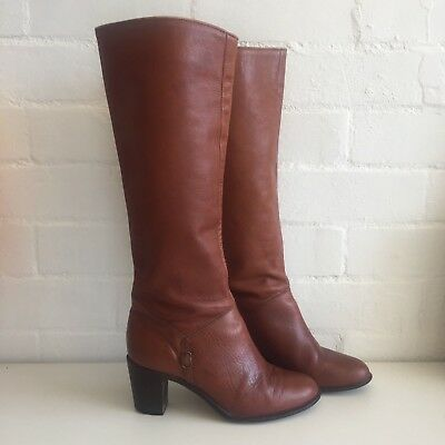 CATLEIA Vintage LEATHER Knee HIGH Boots BROWN Stacked Heels
