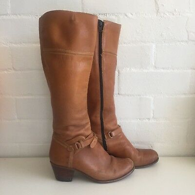 Brazil WORN Rustic Vintage LEATHER Knee HIGH Boots BROWN Stacked Heels
