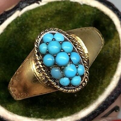 Victorian Antique Ornate Turquoise Signet Ring 15ct Oval Yellow Gold Pretty